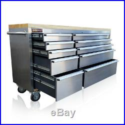 126 Us Pro Tools Tool Chest Box Bench Roll Cabinet Stainless Steel 72 Cupboard