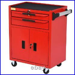 2 Drawer Lockable Tool Chest Storage Metal Box Roller Cabinet Garage Workshop