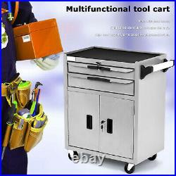 2 Drawer Lockable Tool Chest Storage Metal Box Roller Cabinet Rollcab