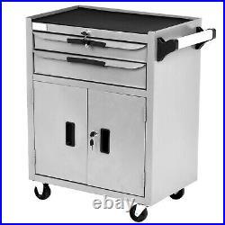 2 Drawer Lockable Tool Chest Storage Metal Box Roller Cabinet Rollcab G
