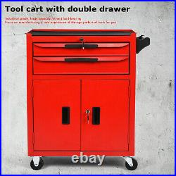 2 Drawer Roll Cab Portable Rolling Steel Cabinet Tool Storage Garage Chest