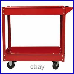 2x Workshop Tool Trolley 2 Layers 3 Shelves Metal Roller Cart Cabinet 100 kg Red