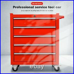 3/5-Layer Tool Cart Trolley Lockable Metal Storage Box Chest Roller Cabinet Cart