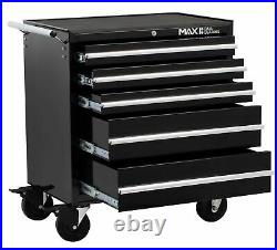 5 Drawer Black Tool Trolley Chest Heavy Duty Steel Mobile Storage Roller Cabinet