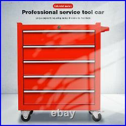 5 Drawer Lockable Tool Chest Storage Metal Box Roller Cabinet Rollcab Tool Box