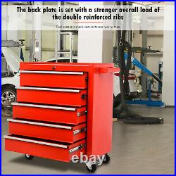 5 Drawer Portable Toolbox Tool Box Chest Cabinet Garage Storage Roll Cab Red New