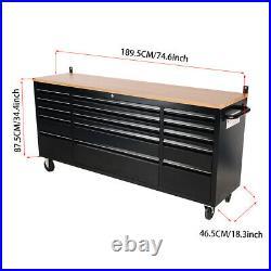 72 Inch Tools Box & Chest 10/15 Drawers Roller Storage Cabinet Work Bench Garage
