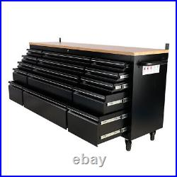 74.6'' Portable Tool Box Wood Top Chest Roller Cabinet Garage Storage 15 Drawers