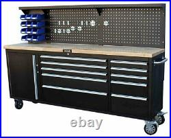 84 Professional 10 Drawer Tool Chest Roller Cabinet With Back & 4 Wheel Locks