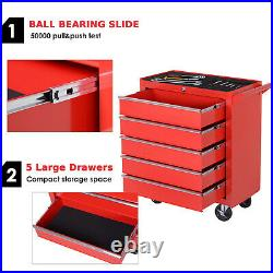 DURHAND Roller Tool Cabinet Stoarge Box 5 Drawers Garage Workshop Chest Red