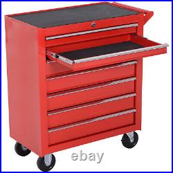 DURHAND Roller Tool Cabinet Storage Chest Box 7 Drawers Garage Workshop Red