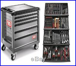 Facom 129 Pce Tool Kit In Module Trays with 6 Drawer Grey Roller Cabinet