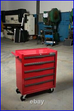 HILKA tool trolley chest 5 drawer red mobile storage roll cabinet unit cart