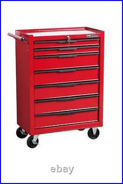 Hilka Tool Chest Trolley 7 Drawer Red Metal Mobile Roll Wheels Cabinet Storage