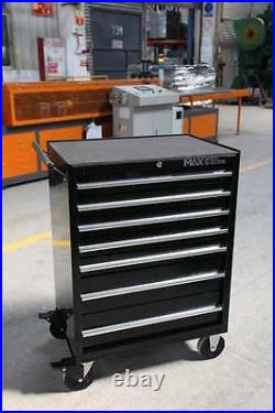 Hilka Tool Chest Trolley Black 7 Drawer Mobile Storage Roll Cabinet Wheels Cart