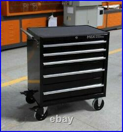 Hilka Tool Chest Trolley Mobile Black Metal 5 Drawer Storage Roll Cabinet Box