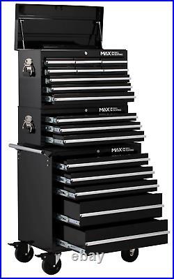 Hilka Tool Chest Trolley Set 17 Drawer Black Mobile Storage Roll Cab Cabinet