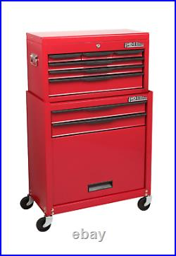 Hilka Tool Storage Trolley Chest 8 Drawer Red Mobile Roll Wheels Cabinet Box