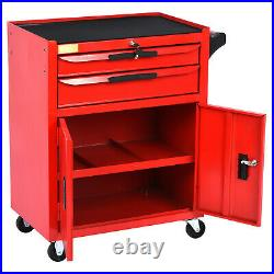 Lockable Tool Chest Metal Storage Box Roller Cabinet Rollcab with Drawer & Wheel