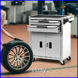 Lockable Tool Chest Metal Storage Box Roller Cabinet with Drawer & Wheel White