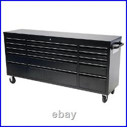 Metal Roller Tool Chest Box with 15 Drawers Wood Top Cabinet Garage Storage Unit