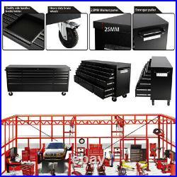 Pro Black Large Storage Chest Tool Box Roller Cabinet 15 Drawers Garage Workshop