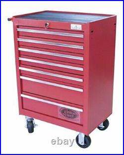 Professional Tool Chest Roller Cabinet 7 Drawer With Ball Bearing Runners Red