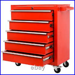Red 5 Drawer Lockable Metal Tool Storage Chest Roller Cabinet Roll Cab