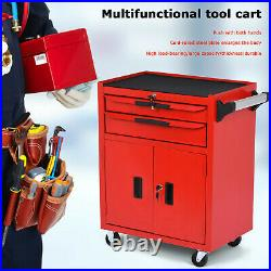 Roller Tool Cabinet Stoarge Box 2X Drawers Garage Workshop Chest Red