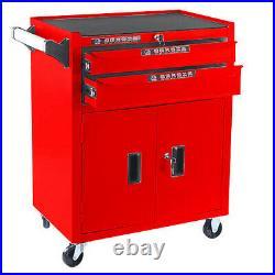 Roller Tool Cabinet Storage Chest Box 2 Drawers Roll Wheels Garage Workshop