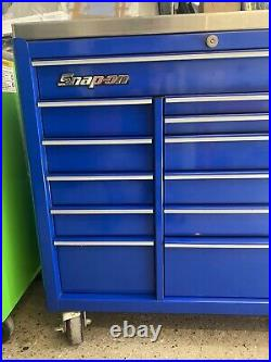 SNAP ON 40 KRA ROLL CAB WITH STAINLESS WORK TOP blue, tool box, roller cabinet