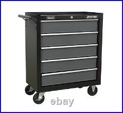 Sealey AP2505B Heavy Duty Black Ball Bearing Roller Cabinet 5 Drawer Tool Chest