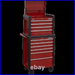 Sealey AP3410 10 Drawer Tool Chest and Roller Cabinet Combination Black / Red