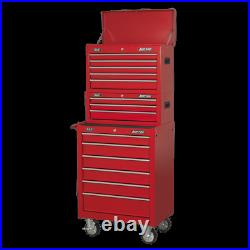 Sealey American Pro 14 Drawer Roller Cabinet, Mid and Top Tool Chest Red