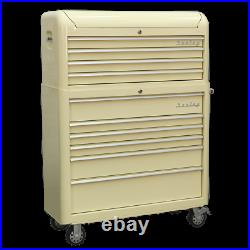 Sealey Premier Retro Style Wide 10 Drawer Roller Cabinet and Tool Chest Blue / W