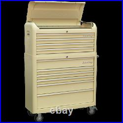 Sealey Premier Retro Style Wide 10 Drawer Roller Cabinet and Tool Chest Cream