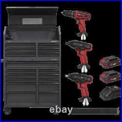 Sealey Roller Cabinet, Tool Chest, Power Bar and 20v Power Took Kit Black