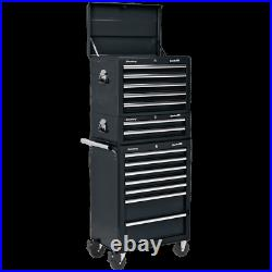 Sealey Superline Pro 14 Drawer Roller Cabinet, Mid Box and Top Tool Chest Black