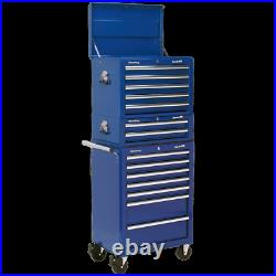 Sealey Superline Pro 14 Drawer Roller Cabinet, Mid Box and Top Tool Chest Blue
