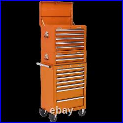Sealey Superline Pro 14 Drawer Roller Cabinet, Mid Box and Top Tool Chest Orange