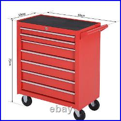 Steel 7 Drawer Tool Storage Cabinet Tool Chest with Roll Wheels Red