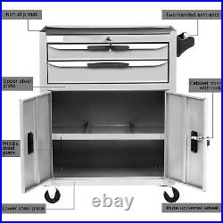 Steel Tool Chest Cart Trolley Storage Cabinet Roller Tool Box Lockable 2 Drawers