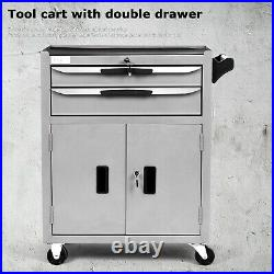 Tool Cart Storage Chest Mobile Roller Tool Cabinet Lockers Trolley With 2 Drawer