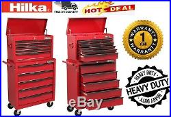 Tool Chest Trolley Storage Cabinet Red 14 Drawer Mobile Cart Roll Cab Unit Hilka