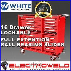WHITE INTERNATIONAL Toolbox 16 Draw Roller Cabinet Tool Box Trolley Cart Storage
