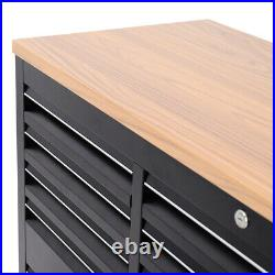 Wheels 55 Black Worktop Tool Chest Box Roller Cabinet/work Bench With 10 Drawer