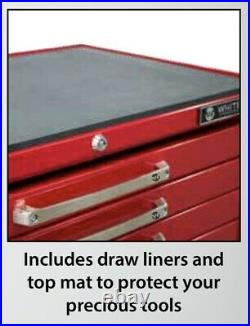 White 7 Draw Toolbox Roller Cabinet Trolley Cart Plus 8 Draw Tool Box Chest